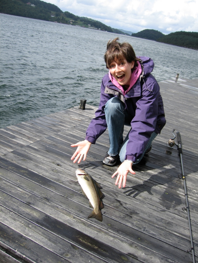 Here I am looking distinctly terrified at having actually caught a FISH.